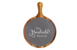 Custom Engraved Round Acacia Wood/Slate Serving Board with Handle - Happyism, Inc. Engraving