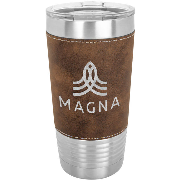 Custom Engraved Stainless Steel 20 oz Tumbler - Rustic Brown Leatherette Wrap - Happyism, Inc. Engraving