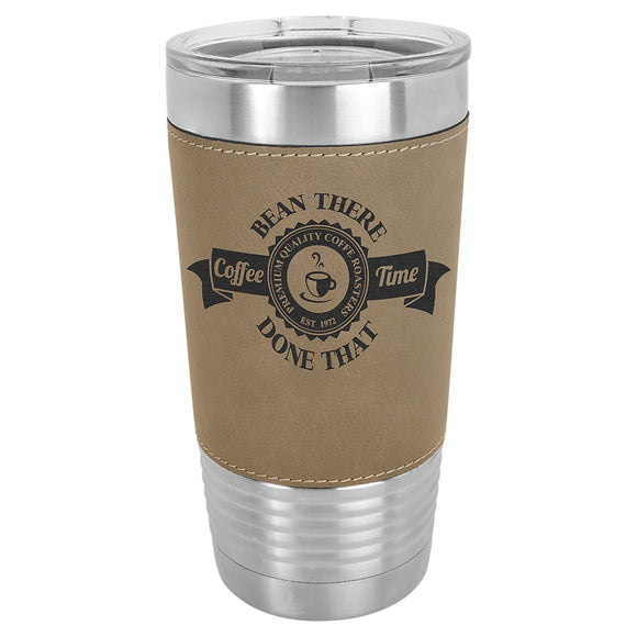 Custom Engraved Stainless Steel 20 oz Tumbler - Tan Leatherette Wrap - Happyism, Inc.