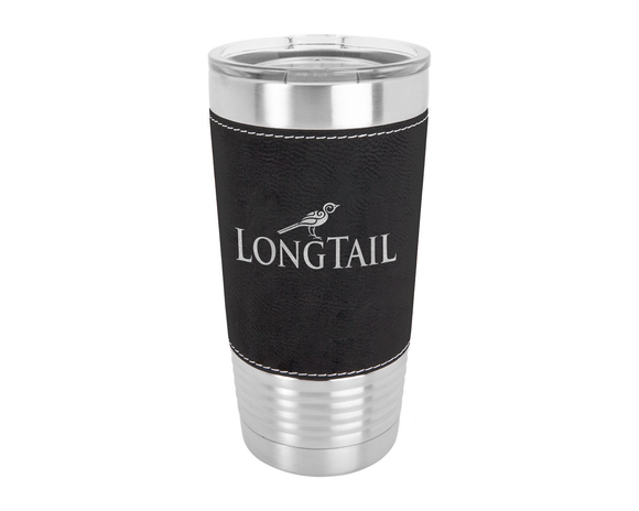 Custom Engraved Stainless Steel 20 oz Tumbler - Leatherette Wrap - Happyism, Inc. Engraving