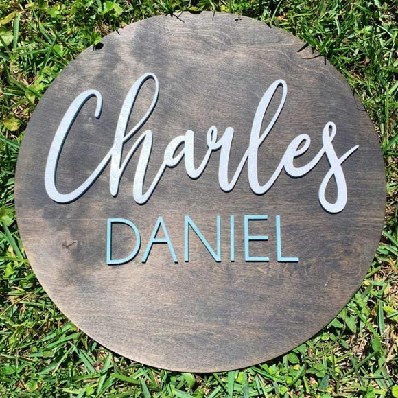 Custom Wood Round Nursery Name Sign - Live Preview