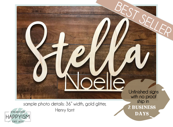 Custom First & Middle Name Wood Sign - Live Preview