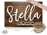 Custom First & Middle Name Wood Sign - Live Preview - Happyism, Inc. Engraving