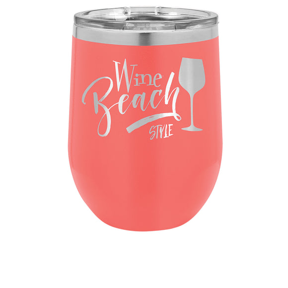 Custom Engraved Wine Tumbler - Stainless Steel 12 oz stemless wine Tumbler - Coral