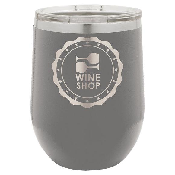 Custom Engraved Wine Tumbler - Stainless Steel 12 oz stemless wine Tumbler - Grey