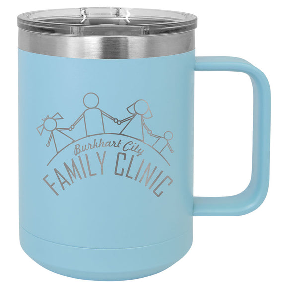 Custom Engraved Stainless Steel 15 oz Polar camel coffee mug - Light Blue - Happyism, Inc. Engraving