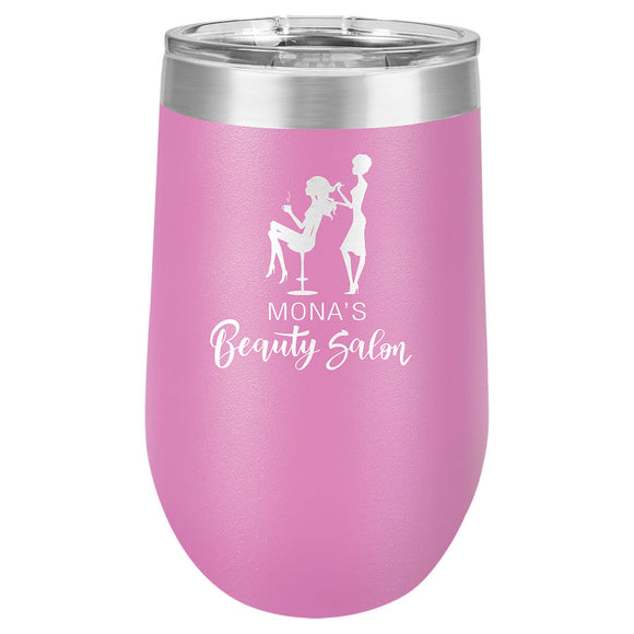 Custom Engraved Wine Tumbler - Stainless Steel 16 oz stemless wine Tumbler - Light Purple - Happyism, Inc. Engraving