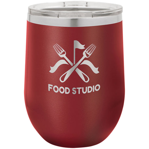 Custom Engraved Wine Tumbler - Stainless Steel 12 oz stemless wine Tumbler - Maroon - Happyism, Inc. Engraving