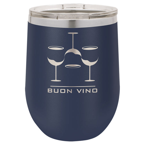 Custom Engraved Wine Tumbler - Stainless Steel 12 oz stemless wine Tumbler - Navy Blue - Happyism, Inc. Engraving