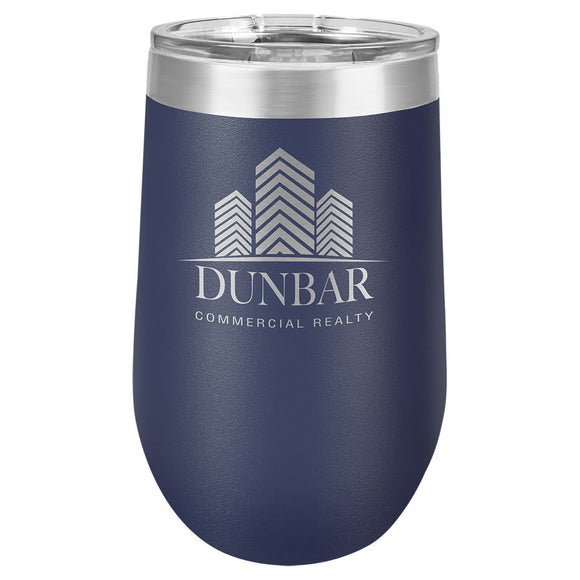 Custom Engraved Wine Tumbler - Stainless Steel 16 oz stemless wine Tumbler - Navy Blue - Happyism, Inc. Engraving