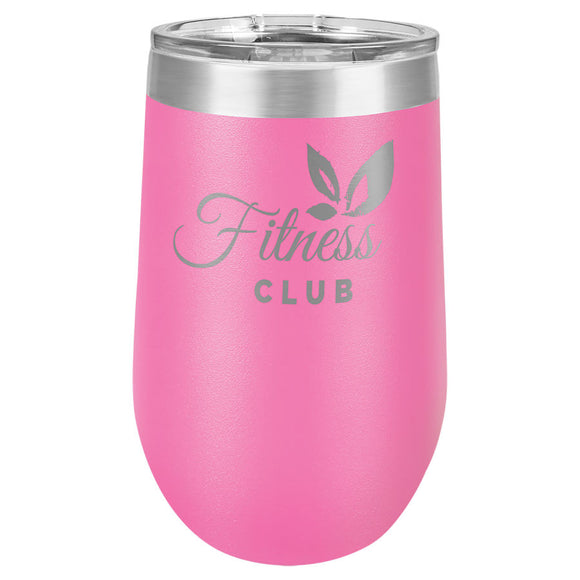 Custom Engraved Wine Tumbler - Stainless Steel 16 oz stemless wine Tumbler - Pink - Happyism, Inc. Engraving