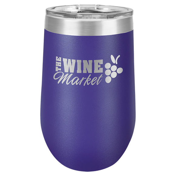 Custom Engraved Wine Tumbler - Stainless Steel 16 oz stemless wine Tumbler - Purple - Happyism, Inc. Engraving
