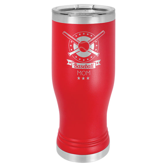 Custom Engraved Stainless Steel 20 oz Pilsner Tumbler - Red - Happyism, Inc. Engraving