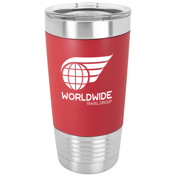 Custom Engraved Stainless Steel 20 oz Tumbler - Red Silicone wrap - Happyism, Inc.