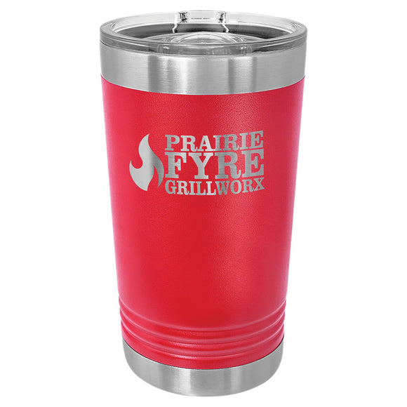 Custom Engraved Stainless Steel 16 oz Pint tumbler - Red - Happyism, Inc. Engraving