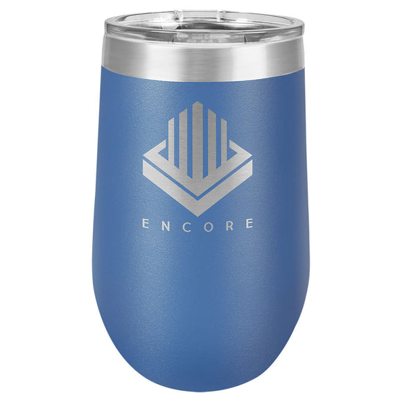 Custom Engraved Wine Tumbler - Stainless Steel 16 oz stemless wine Tumbler - Royal Blue - Happyism, Inc. Engraving