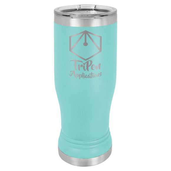 Custom Engraved Stainless Steel 14 oz Pilsner Tumbler - Teal - Happyism, Inc. Engraving