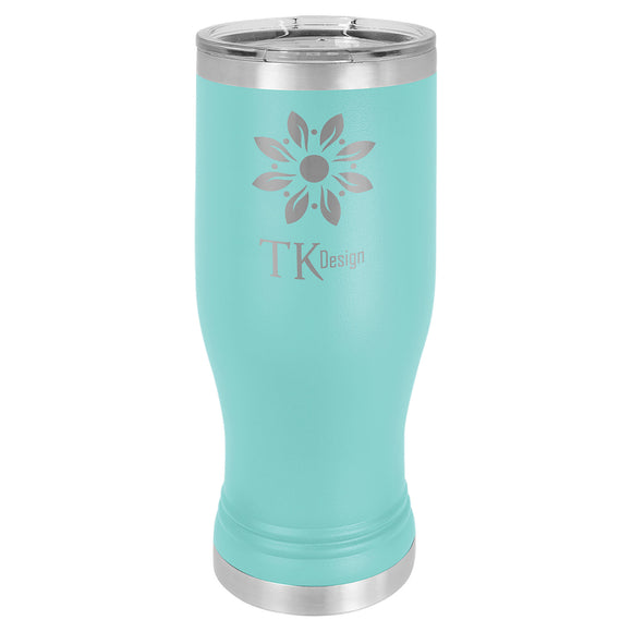Custom Engraved Stainless Steel 20 oz Pilsner Tumbler - Teal - Happyism, Inc. Engraving