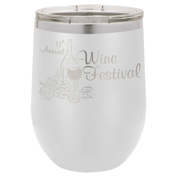 Custom Engraved Wine Tumbler - Stainless Steel 12 oz stemless wine Tumbler - White