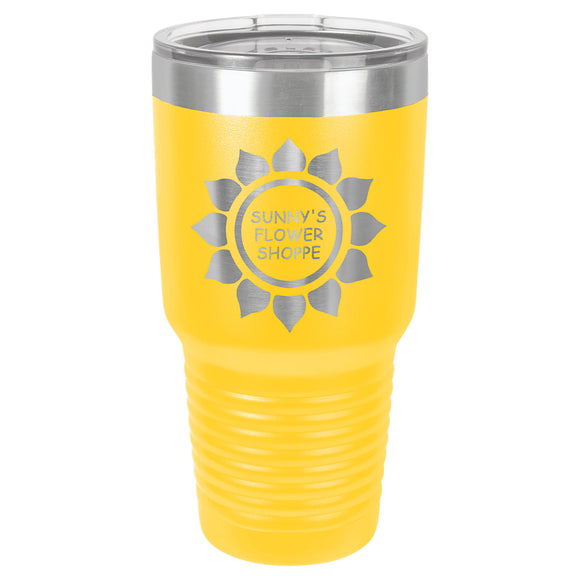 Custom Engraved Stainless Steel 30 oz Tumbler - Yellow - Happyism, Inc. Engraving