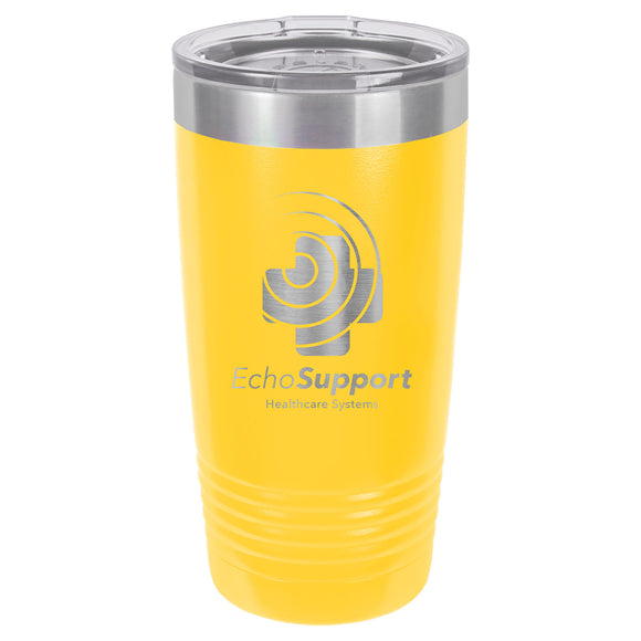 Custom Engraved Stainless Steel 20 oz Tumbler - Yellow - Happyism, Inc. Engraving