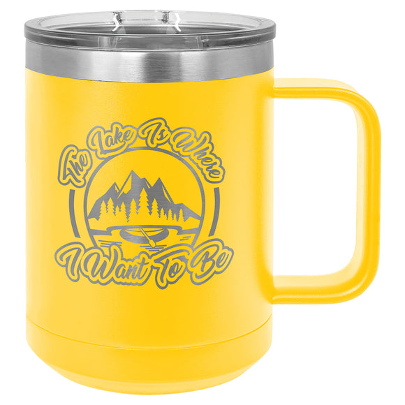 Custom Engraved Stainless Steel 15 oz Polar camel coffee mug - Yellow - Happyism, Inc. Engraving
