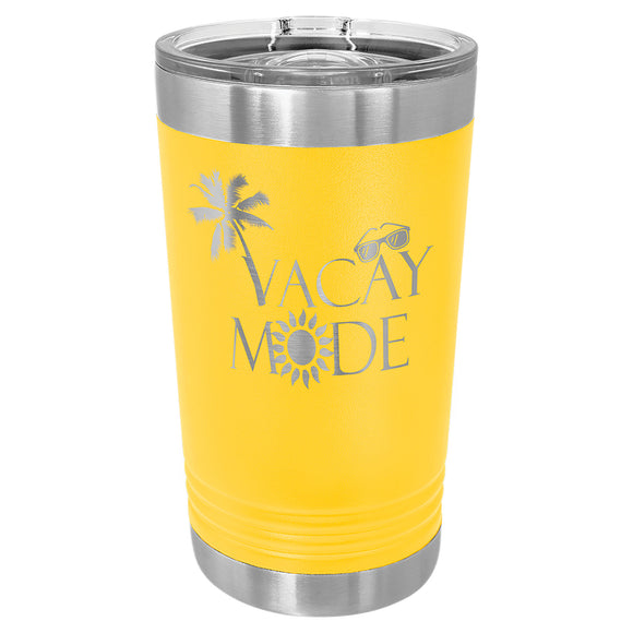 Custom Engraved Stainless Steel 16 oz Pint tumbler - Yellow - Happyism, Inc.
