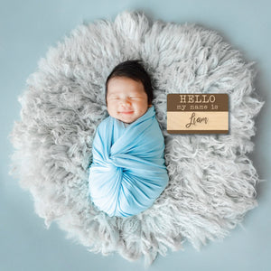 "Hello I'm ""___"" Engraved Newborn sign with baby name"