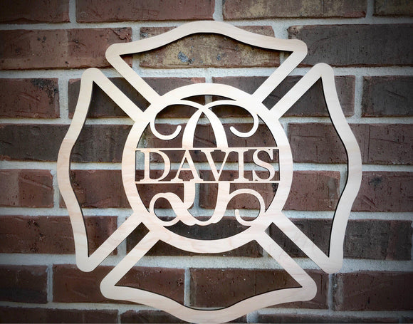 Firefighter Monogram Wood Cutout - Happyism, Inc.