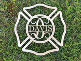Firefighter Monogram Wood Cutout - Happyism, Inc. Engraving