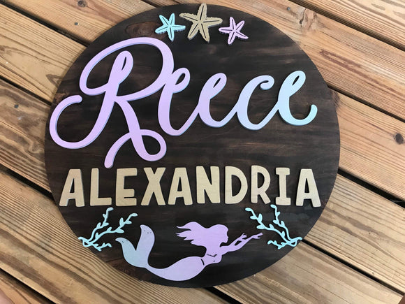 Mermaid themed nursery round name sign - Happyism, Inc. Engraving