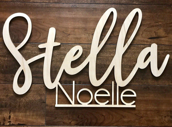 First & Middle Name Wood Sign for Nursery or Kid's room - Happyism, Inc.