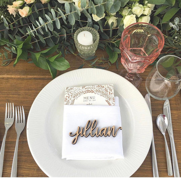 Wooden Name Place Setting for Wedding Guests - Happyism, Inc.