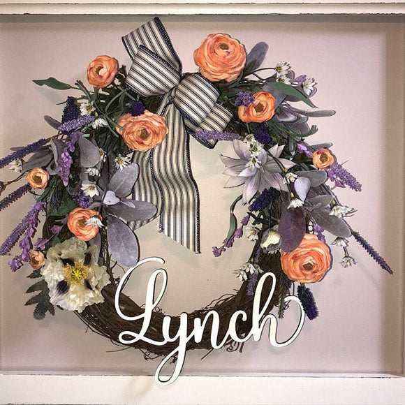 Small wooden last name cutout - Front door wreath name - Happyism, Inc. Engraving
