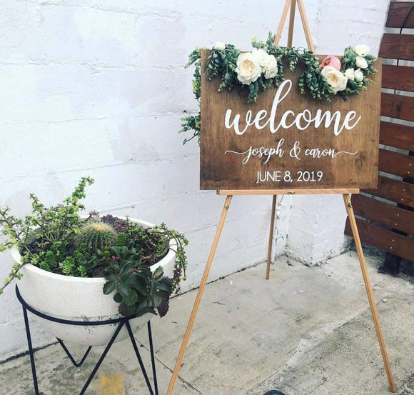 Wedding sign, rustic wedding sign, wedding welcome sign, wooden wedding sign, wood sign, wedding inspiration - Happyism, Inc.