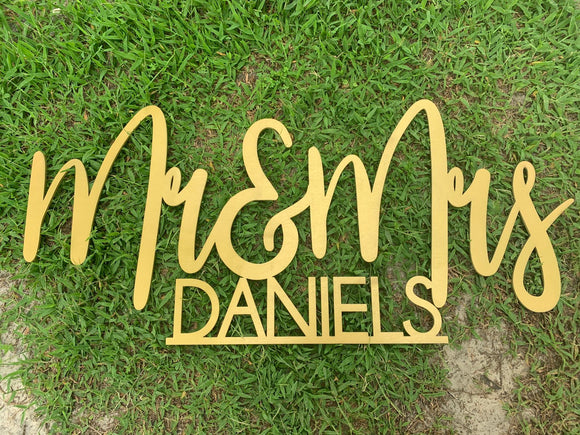 Wedding Sign, Mr and Mrs sign, Custom last name wedding sign, name cutout, mr and mrs last name sign, wood cut sign, gold wedding decor, - Happyism, Inc.