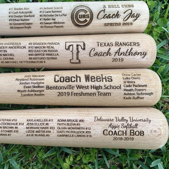 Engraved Full Size Coach Bat - Happyism, Inc. Engraving