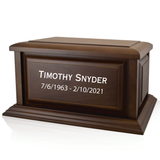 Engraved Large Traditional Walnut Wood Cremation Urn