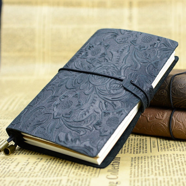Carved Floral Pattern Leather Notebook