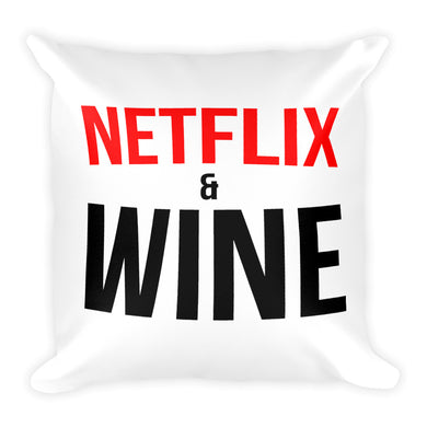 NETFLIX AND WINE Square Pillow