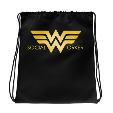 Social Worker Hero Drawstring bag