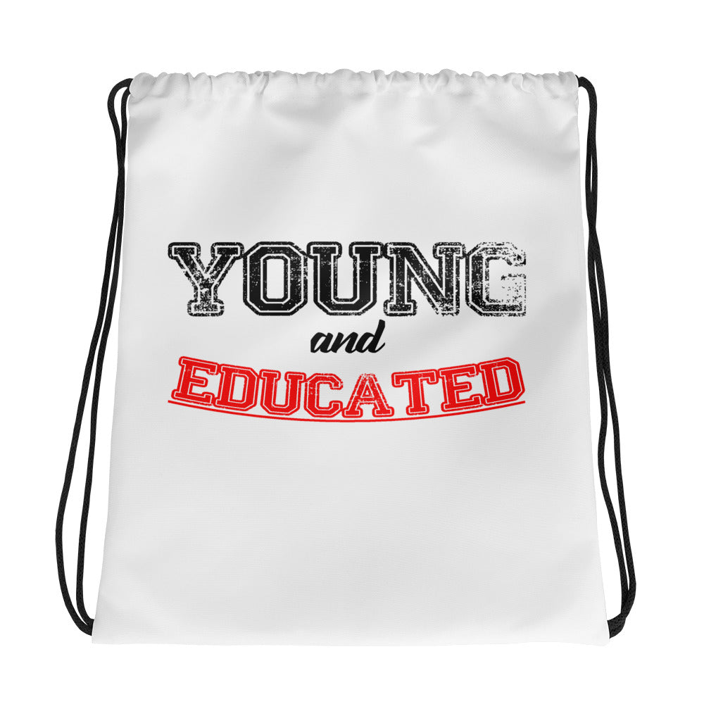 Young and Educated Drawstring bag