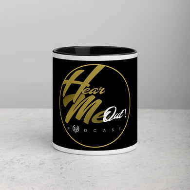 HEAR ME OUT PODCAST BLACK ACCENT MUG