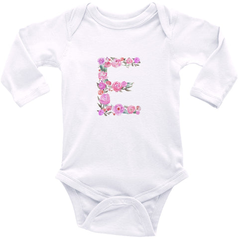 Watercolor Floral Monogram Baby Girl Longsleeve Onesie