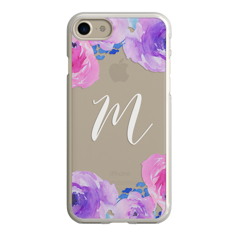 Watercolor Peonies Purple Pink Floral Monogram iPhone Case