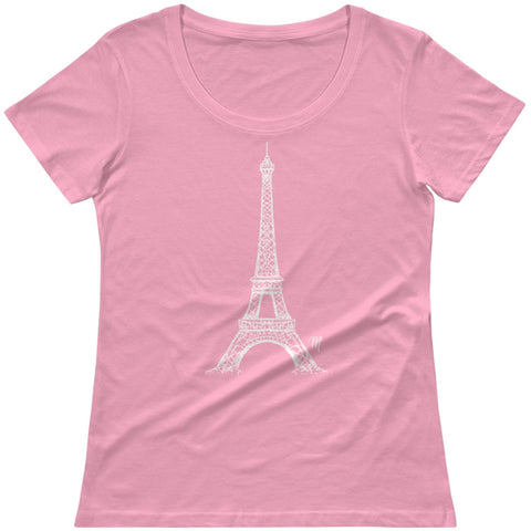 Women's Pink Paris Eiffel Tower Monogram Scoopneck T-Shirt