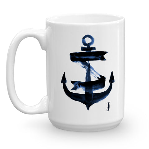 Nautical Navy Blue Watercolor Anchor Monogram Mug