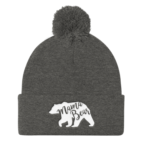 Mama Bear Personalized Year Embroidered Pom Pom Beanie