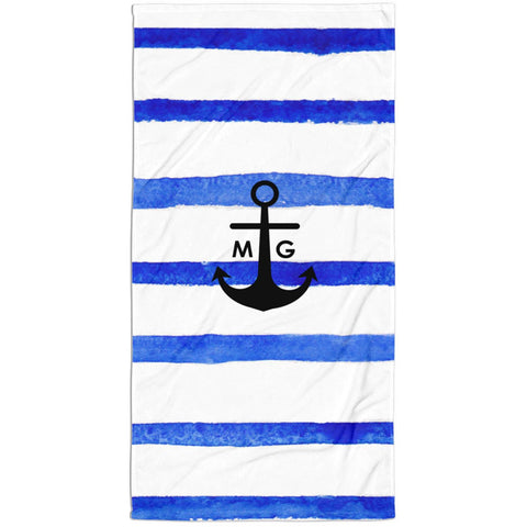 Nautical Anchor Watercolor Stripes Monogram Beach Towel