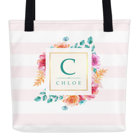 Water Color Floral Striped Monogram Tote Bag